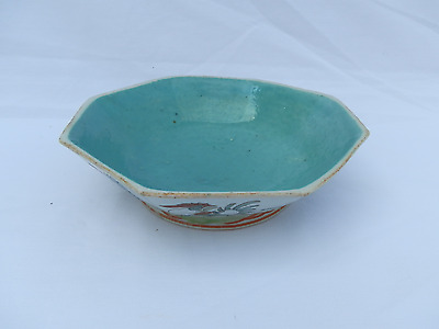 Antique Tongzhi Period Chinese Export Porcelain Bowl Roosters Turquoise #2