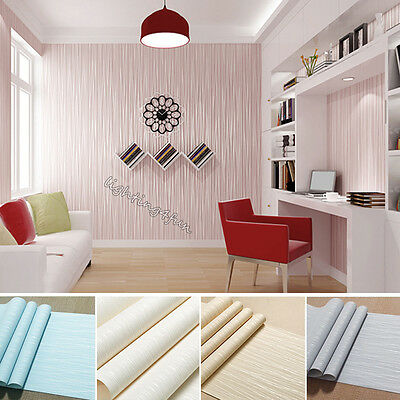 Plain Minimalist 3D Silk Pattern Wallpaper Modern Wallcovering Stripe Roll Decor