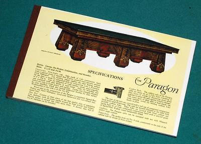 Reproduction notepad of Brunswick-Balke-Collender Paragon Table