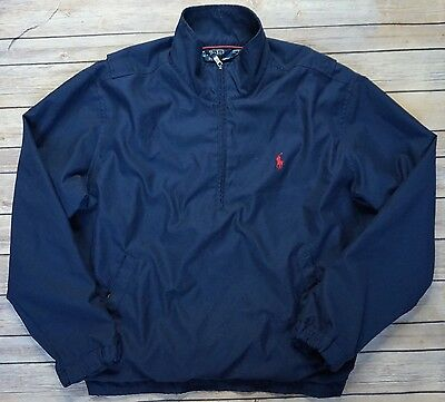 Men's Polo Ralph Lauren Navy Wind Breaker Zipper Pullover Coat Jacket - Sz M