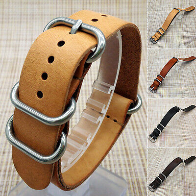Mens Genuine Leather Army Military Watch Strap Band 18/20/22mm Black Brown SD