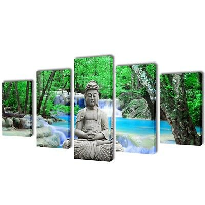 #Buddha Canvas Prints Framed Wall Art Decor Painting Home Office 5 Panels Set