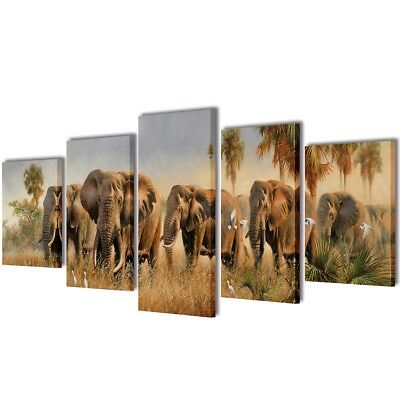 #Elephants Canvas Prints Framed Wall Art Decor Painting Home Office 5 Panels Set