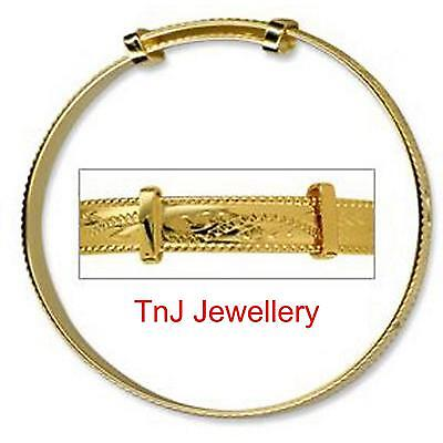 Genuine 9k Yellow Solid Gold Baby Rope Edge Engraved Expanding Bangle Beautiful