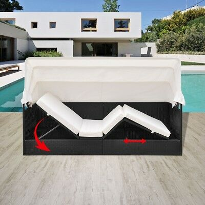 #Outdoor Black Rattan Sun Bed Wicker Lounger Pool Garden Curtain Shade Daybed