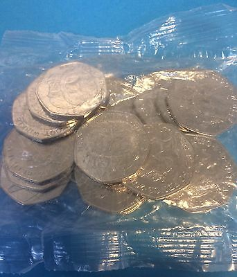 Sealed Bag Of 19 X Mrs Tiggy Winkle And 1 X Beatrix Potter 50p's Uncirculated