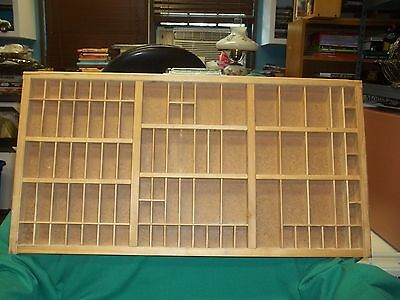 "Vintage Printers Typeset Drawer Divided Shadowbox Metal Pull 17"" T x 32"" L"