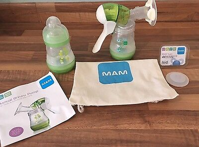 MAM manual Breast Pump, 2 Bottles With Teat, Dummy And Carry Bag