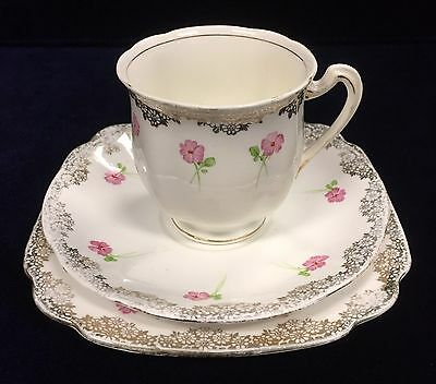 Vintage Bone China Tea Cup Saucer and Cake Plate
