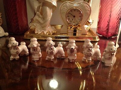 Lot of 6 - 3 paired - Small Vintage Poodle Figurines