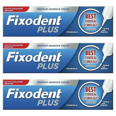 3 x Fixodent Plus Dual Premium Food Seal Denture Adhesive Cream 10x Stronger 40g