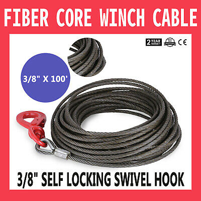 "Winch Cable 3/8"" x 100' Fiber Core Self Locking Swivel Hook Tow Truck Flatbed"