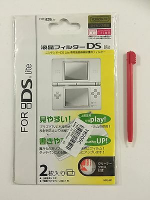 Nintendo DS Lite Screen Protector 2xFilm Cleaning Cloth And Stylus Pen Free Post