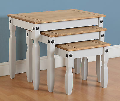 Corona Grey And Distressed Waxed Pine Nest Of 3 Tables *next Day Delivery