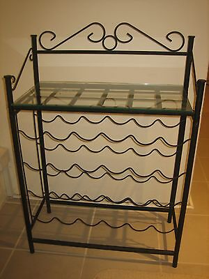Metal Wine Rack With Glass Shelve at Top holds 24 botttles