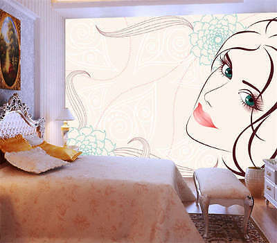 Beauty Girl Vector Salon Full Wall Mural Photo Wallpaper Print Kid Home 3D Decal