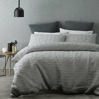 Bowen Silver Quilted Duvet Doona Quilt Cover Set Queen King Bed Size by Phase 2
