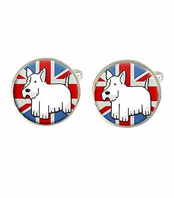Cartoon Westie Union Jack Dog Mens Cufflinks Birthday Ideal Gift C606