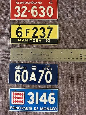 Vintage (3) Canadian Prov And (1) Monaco Cereal Bike License Plates Lot Of 4