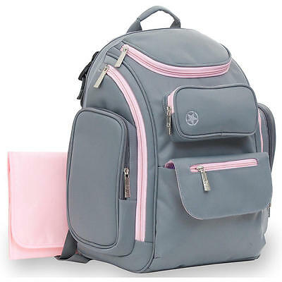 Jeep Places and Spaces Backpack Diaper Bag - Grey/Pink