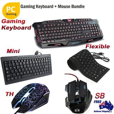 Gaming Keyboard USB Wired Mini/Flexible Keyboard And Gamer Optical Mouse For PC