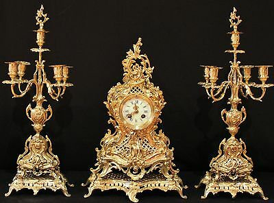 Splendid Japy Freres French Antique Gilt Bronze Set Clock & Candelabras 19Th C