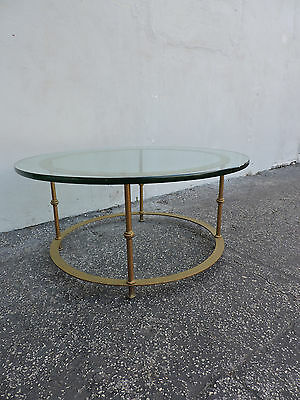 Round Mid Century Hollywood Regency Glass Top Coffee Table  6303