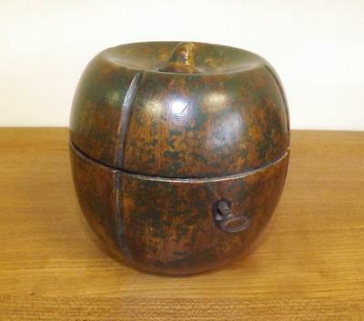 Superb Victorian Treen Melon Shaped Tea Caddy With Working Lock And Key.