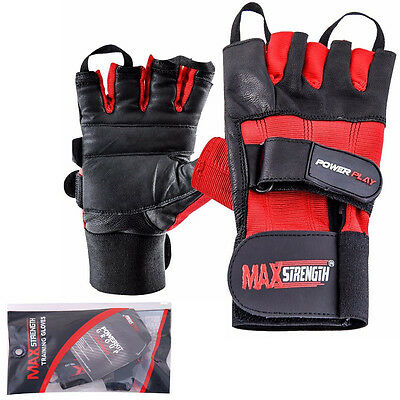 Weight Lifting Gloves Leather Gym Workout Body Building Training Wrist Support