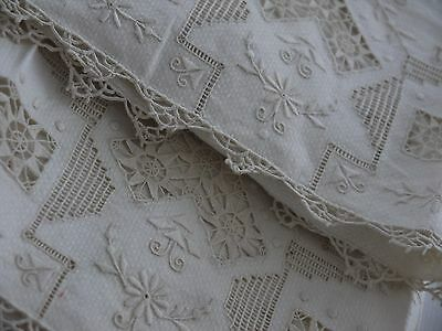 2*Antique*Needle Lace*Embroidered*Cut work*Lace*Hand towels*Linen*Cloths*FAB