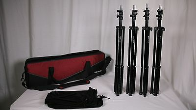 Set of FOUR 7FT Light Stands Air Cushioned, with Sleeves and Nylon Bag