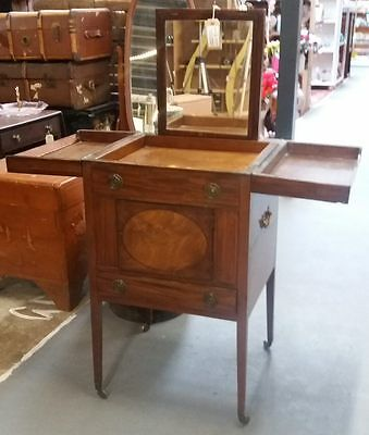 Antique Georgian Mahogany Campaign Washstand With Mirror And Drawer