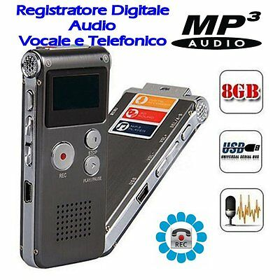 SK012 Registratore SPY Digitale Audio Vocale e Telefonico 8GB MP3 con VOX