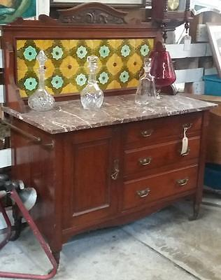 Antique Edwardian Mahogany Washstand With Marble Top And Tile Back