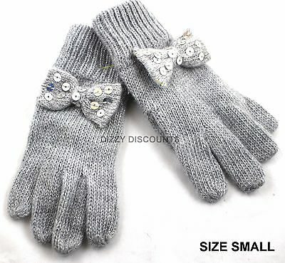 JOHN LEWIS Girls Sparkle Knitted GLOVES Silver Grey SEQUIN BOW Childs SMALL