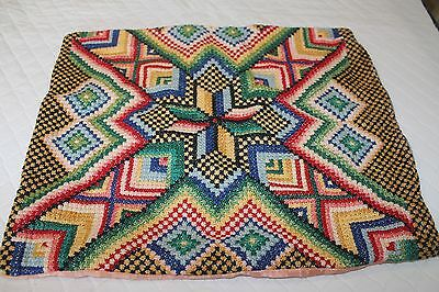 Antique Embroidered Pillow case Needlepoint 16 x 12 inches