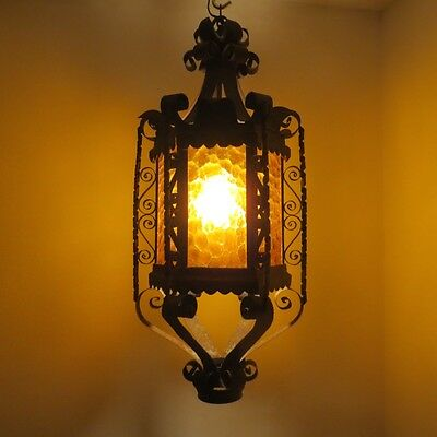 Vintage Wrought Iron Medieval Gothic Spanish Hanging Lamp Light Honeycomb Amber