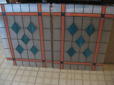 "Lot of 2 26"" x 36"" Large Diomond Style Stained Glass Window Panels"