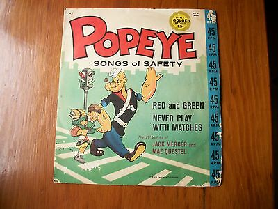 """1950's POPEYE """"SONGS of SAFETY"""" RECORD-45 RPM-KING FEATURES SYNDICATE"""