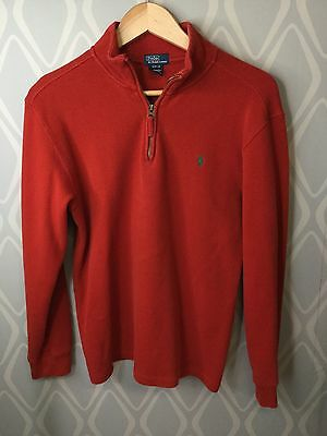 Ralph Lauren Polo Brick Red Pullover 1/2 Zip Sweater Cotton XL 18-20 Youth Knit