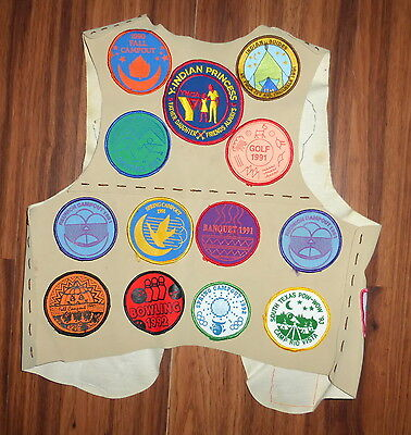 Ymca Indian Princess Suede Vest With 20 Patches From The Early 90's