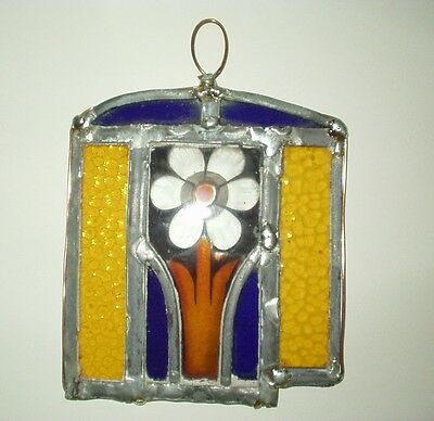 Antique Stained Glass - Flower from old church window