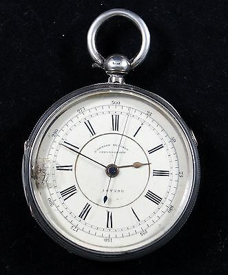 H Wolfe Manchester Solid Silver Antique Chronograph Pocket Watch Chester 1889