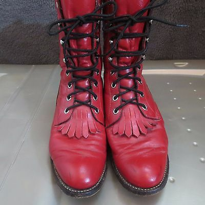 Vintage JUSTIN BOOTS - Red, Lace Up - Size 8