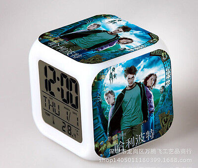 Harry Potter Cosplay LED 7 Colors Change Night light Colorful kids Alarm Clock