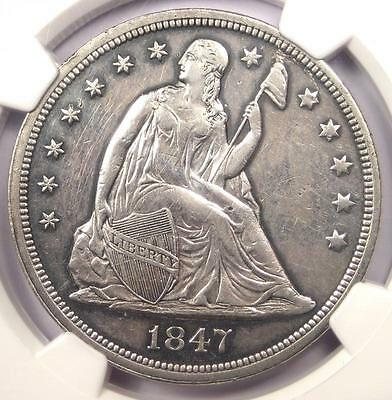 1847 Seated Liberty Silver Dollar $1 - NGC AU Details - Rare Early Date Coin!