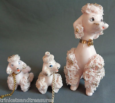 Vintage Pink & Gold Ceramic Spaghetti Poodle Chained Set of 3 Japan 2610 Lot 8