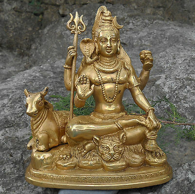 "9"" HIMALAYAN 8 METAL ALLOY SHIVA with NANDI BULL STATUE. BLESSED & INITIATED."