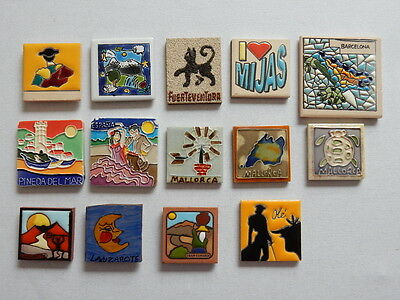 One Selected Tile Shaped Souvenir Fridge Magnet from Spain