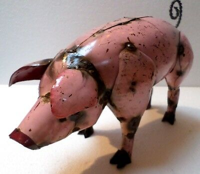 """Mexican Rustic Recycled Distress Metal Garden Yard Art Pink Pig Shabby Chic 13"""""""